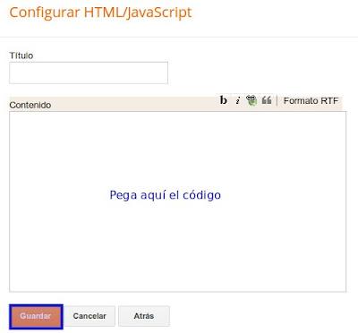 Gadget HTML/Javascript de Blogger
