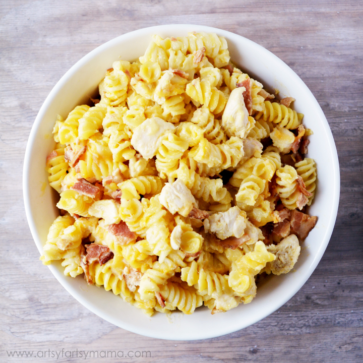 Cheesy Chicken Bacon Pasta Recipe at artsyfartsymama.com