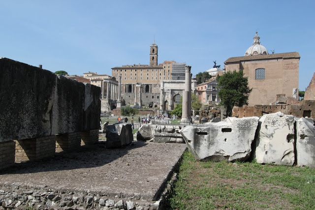 At the back of Basilica Aemilia of Roman Forum in Rome, Italy