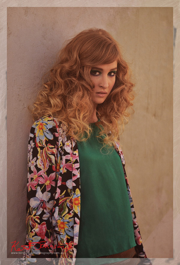 Aiyana Mid shot, modelling Urban Fashion - Stylists own floral Jacket, St Frock top & skirt. Fashion Photography by Kent Johnson