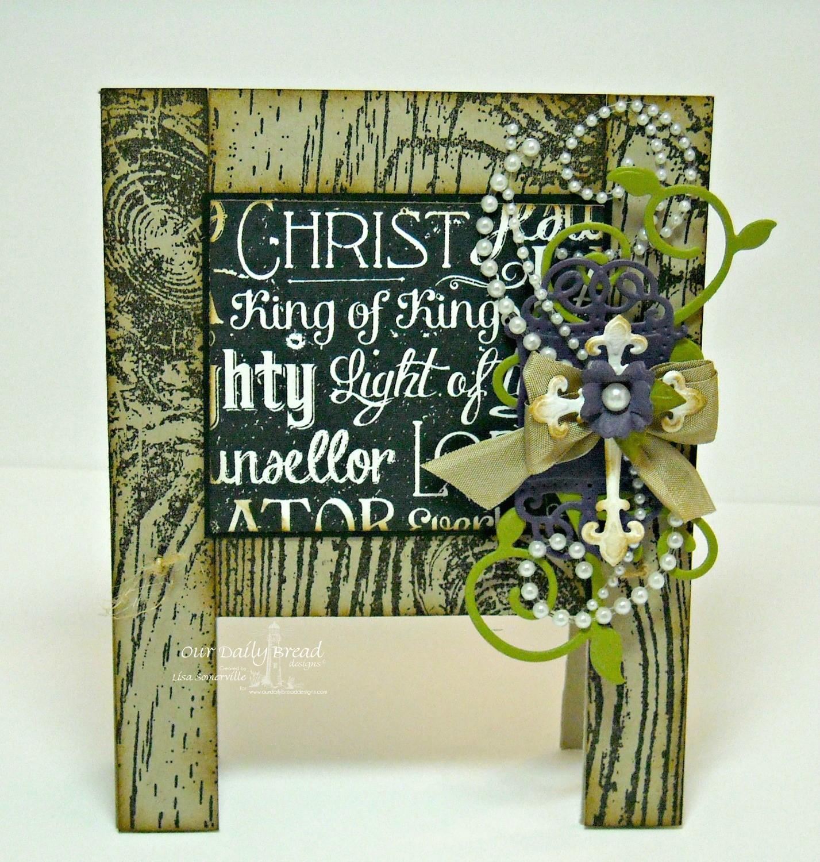 Stamps - Our Daily Bread Designs Wood Background, Chalkboard Word Collage Background, ODBD Custom Ornamental Crosses Dies, ODBD Custom Fancy Foliage Dies