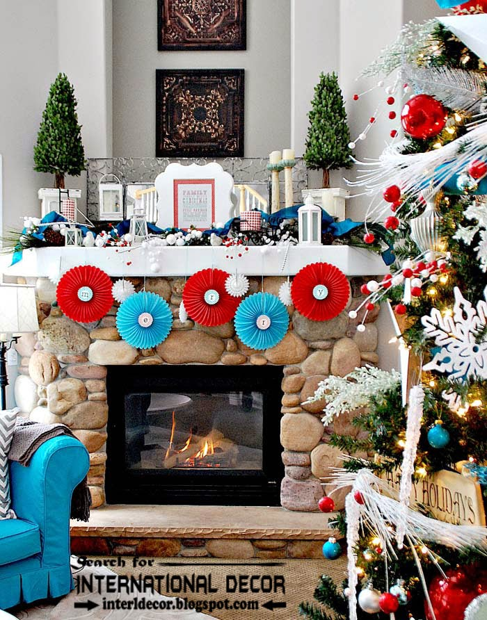 Christmas decorating ideas for fireplace 2015, Christmas fireplace mantel decor 2015