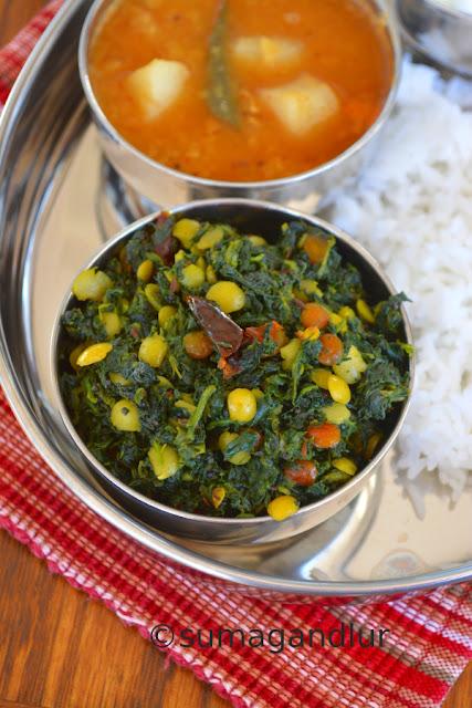 Palakoora Podi Koora ~ Sauteed Spinach with Lentils