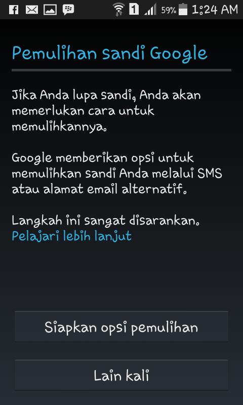 Membuat gmail part sandi pemulihan di android