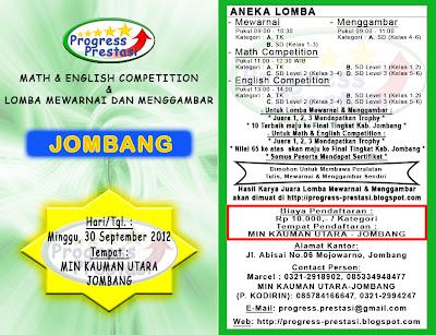 Progress Prestasi : Brosur Math & English Competition & Lomba Mewarnai dan Menggambar Babak Penyisihan Kec. Jombang