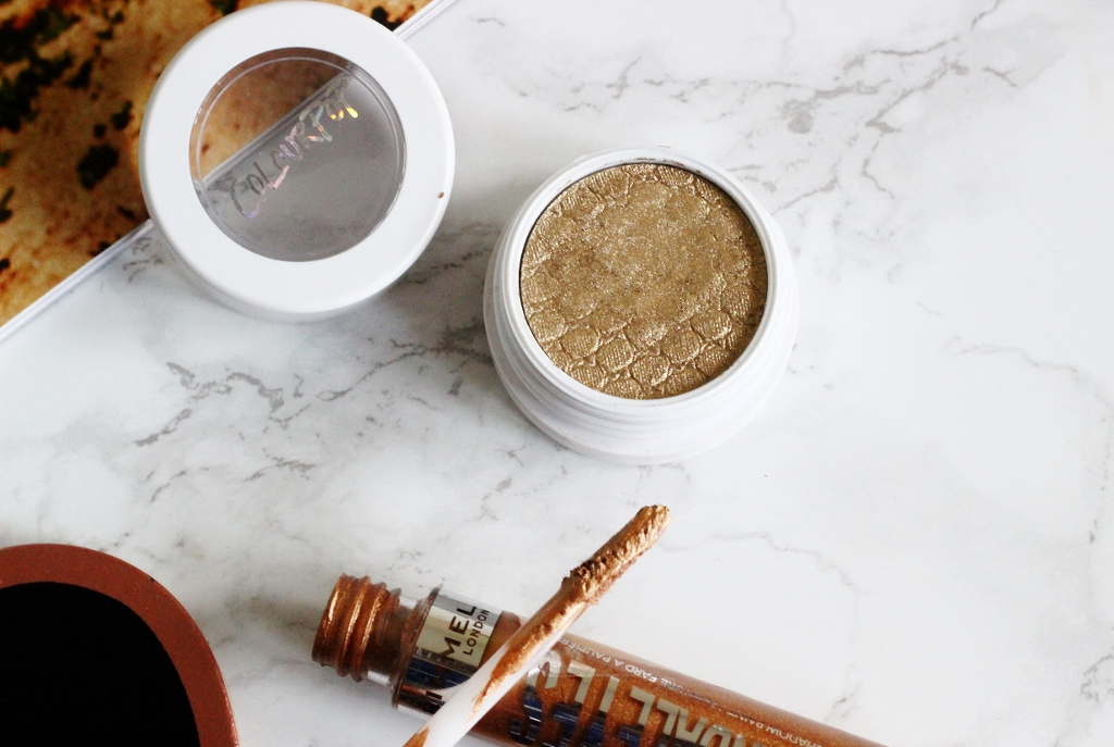 colourpop super shock shadow get lucky, rimmel scandaleyes shadow paint in golden bronze,