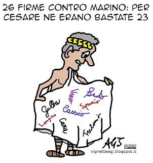 Marino, giulio cesare, dimissioni consiglieri, firme, vignetta satira