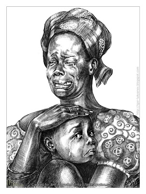 portrait of a weeping African woman with a crying child (drawing by Igor Lukyanov)