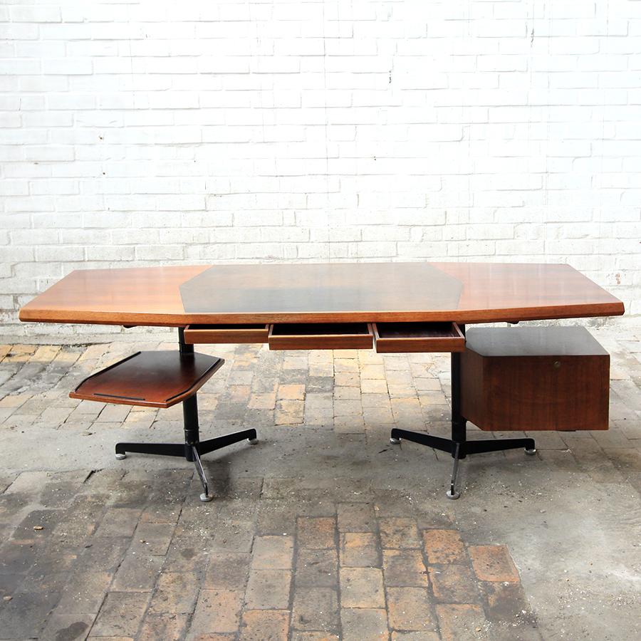 vintage design hout bureau desk schrijftafel writing desk vintage hout meubel italian
