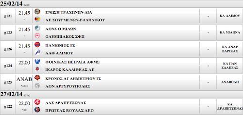 Το πρόγραμμα των σημερινών αγώνων (ΤΡΙΤΗ 25.02.2014)
