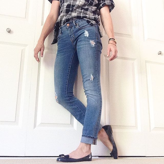 plaid and distressed denim