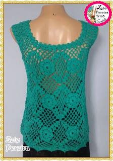 Blusa de Crochê, Batas de crochê, regata em crochê, regatas, blusa de crochê em squares, blusa de crochê com flores, flores de crochê