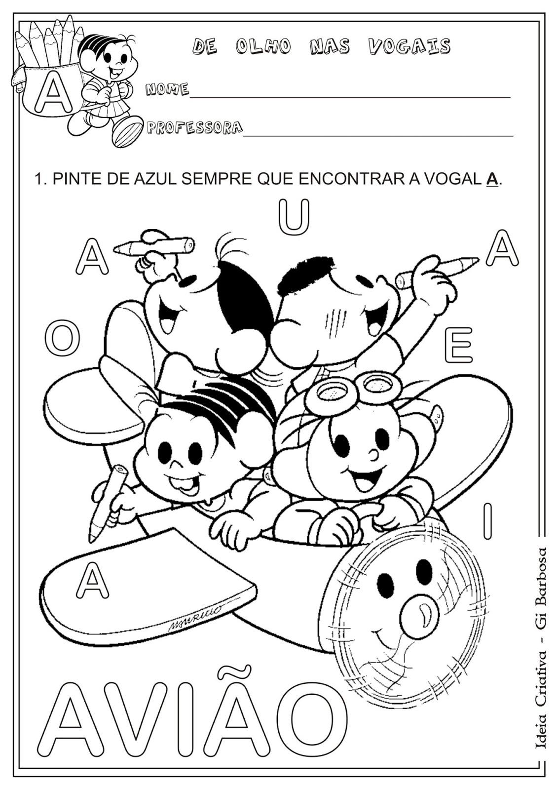 Populares Atividade Vogal A | Ideia Criativa - Gi Barbosa Educação Infantil ZK72