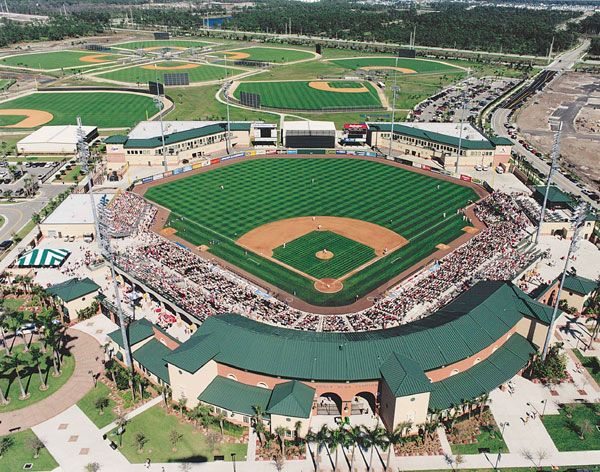 Aerial photo of Rodger Dean Stadium Jupiter Florida