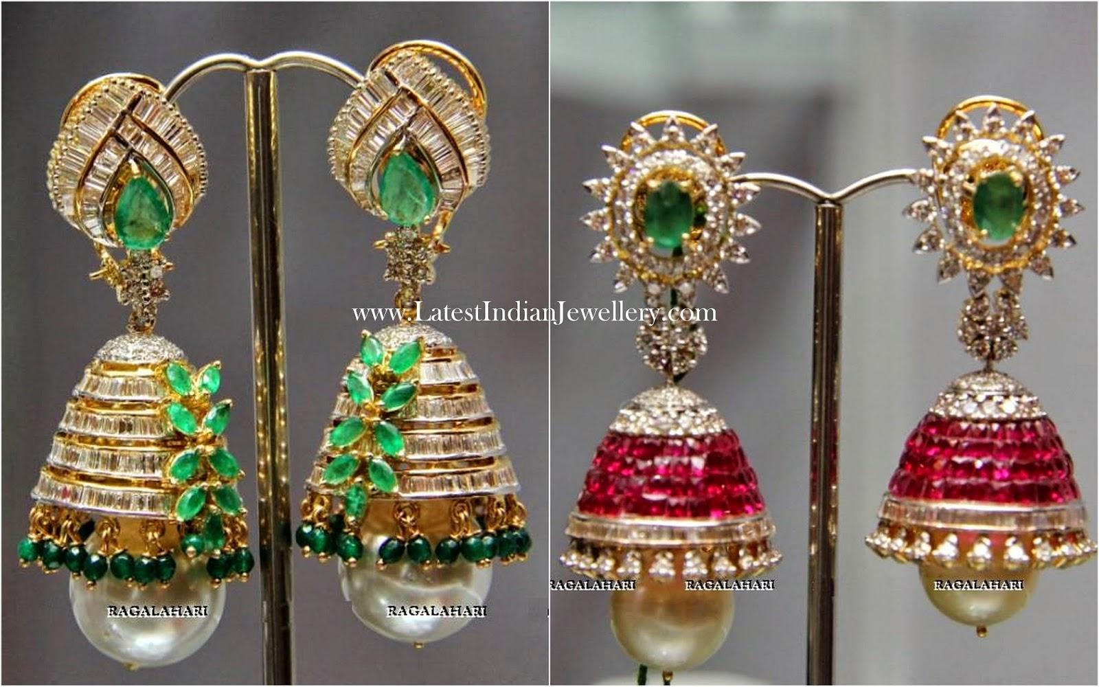 Uniquely Designed Diamond Jhumkas