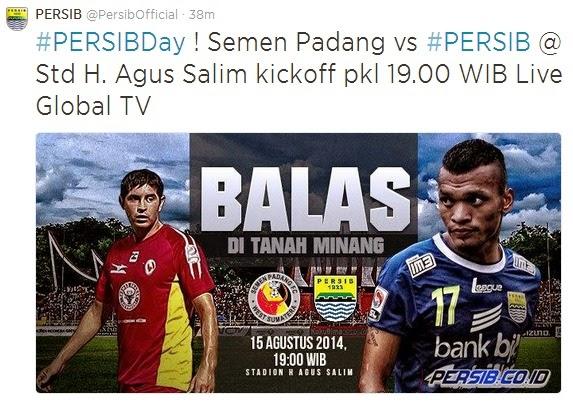 Siran Langsung Semen Padang vs Persib di Global TV