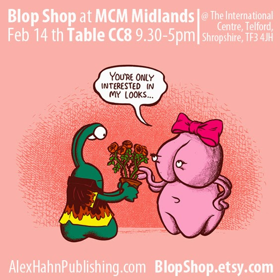 Alex Hahn appearing at MCM midlands comic con on valentines day featuring Blop