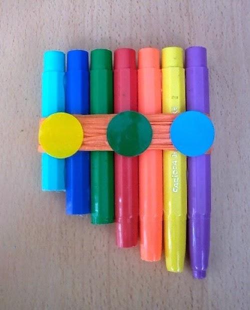 Flauta con rotuladores reciclados