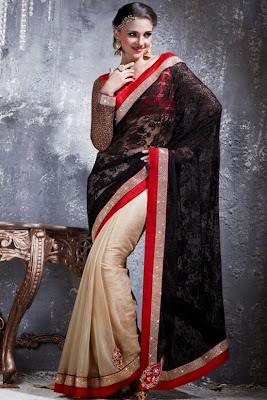 FULL SLEEVE BLOUSE WITH HALF AND HALF LACE SAREE