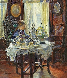 A Victorian girl sits for breakfast in a lush room.