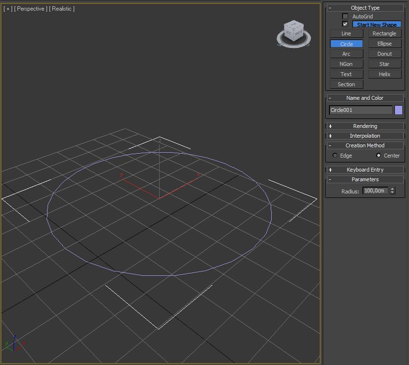 Creando círculo en 3ds max.