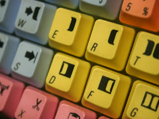 Avid keycaps on the keyboard of an Avid editing system.