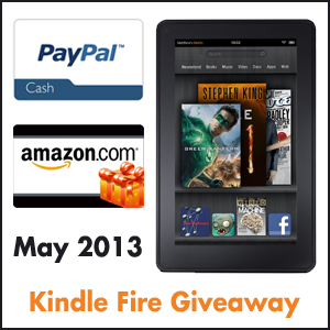 Get a chance to win Kindle Fire, Paypal Cash, or Amazon Gift Card.