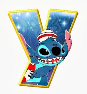 Alfabeto de personajes Disney con letras grandes Y Stich.