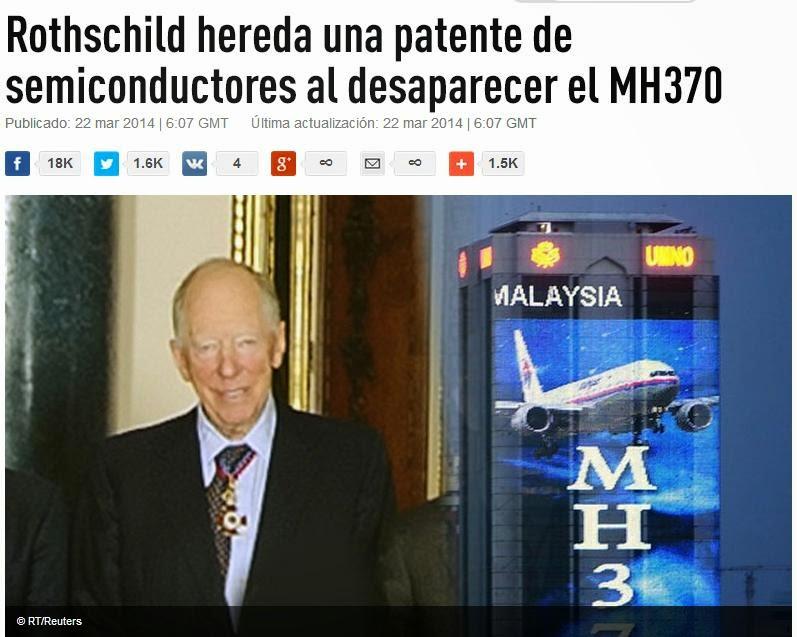 Vuelo M/370: Rothschild. Único vivo de 5, titular de Patente