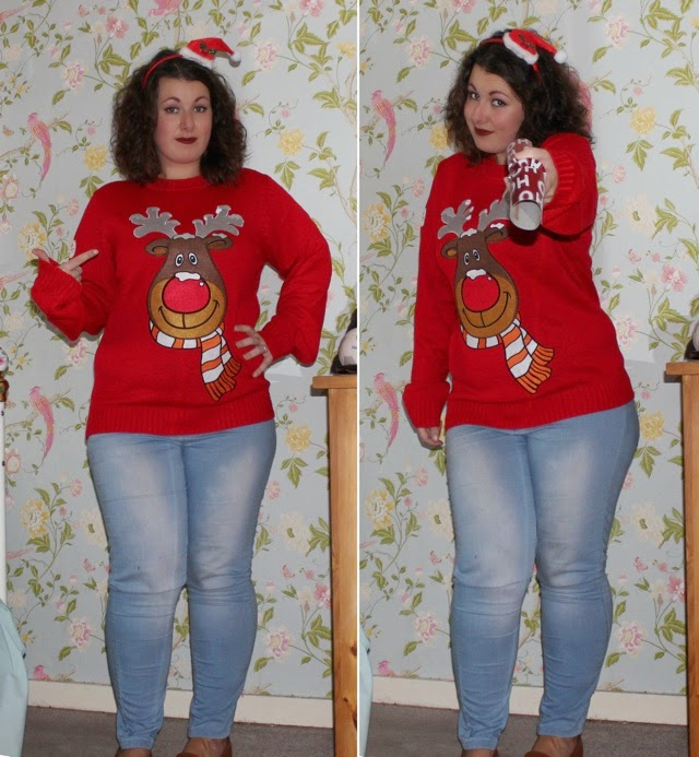 funky christmas jumpers red rudolph