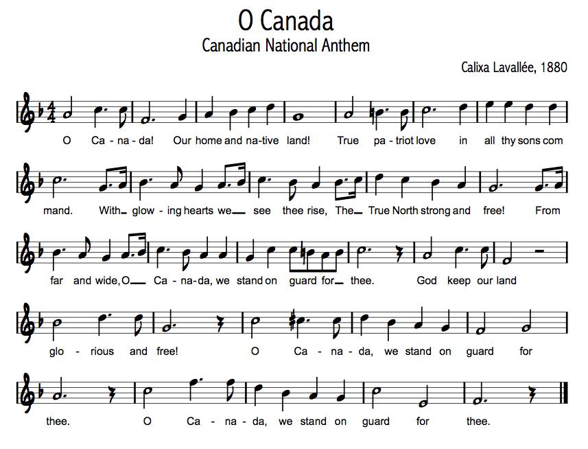 oh canada sheet music pdf