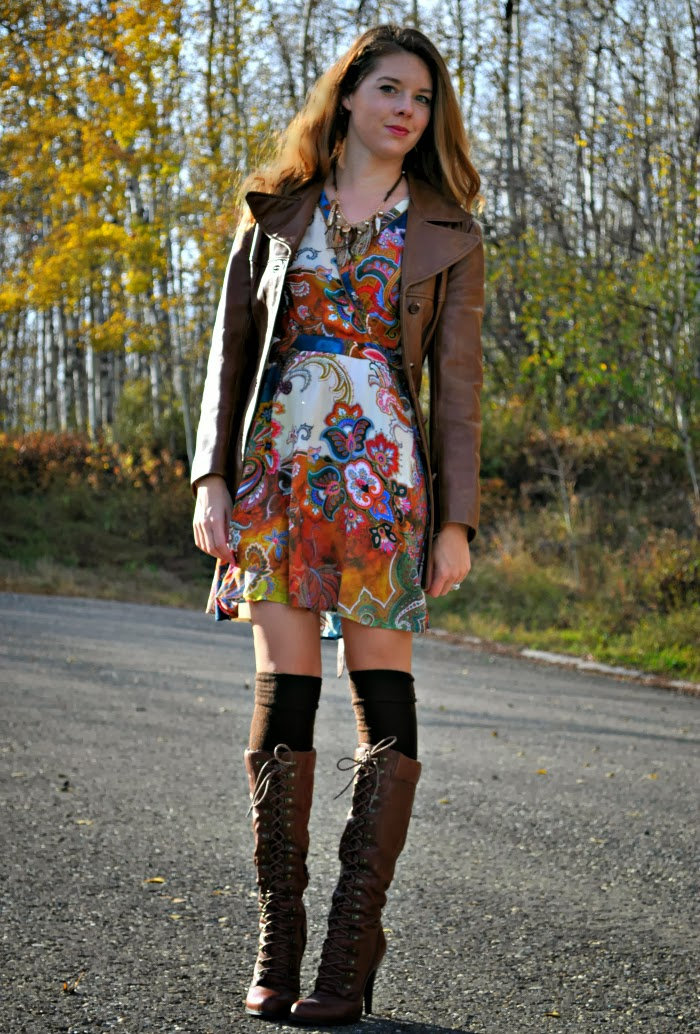 Printed Dress, Over the Knee Socks and Tall Boots