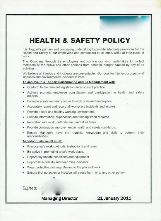 Safety Risks Health And Safety Policy