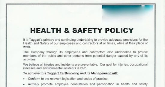 Hse Health And Safety Policy Template Safety Risks Health And Safety Policy