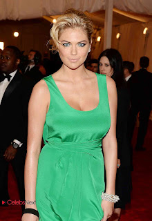 Kate Upton Pictures in Green Long Dress at 2013 Met Gala in New York  0003