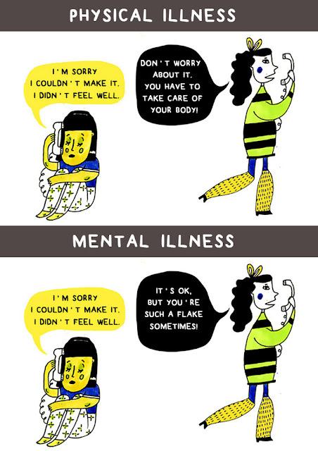 """Nos quadrinhos: O primeiro com título de """"doença física"""" mostra uma garota encolhida no chão abraçando os joelhos e falando no telefone, """"Desculpa eu não ter ido. Eu não me senti bem."""" A segunda está de costar para ela respondendo no telefone, """"Não se preocupe. Você tem que cuidar do seu corpo!"""" No segundo o título é """"doença mental"""" e mostra o mesmo cenário, a primeira garota diz a mesma coisa, mas a segunda responde dessa vez """"Tudo bem, mas às vezes você é uma furona!"""""""