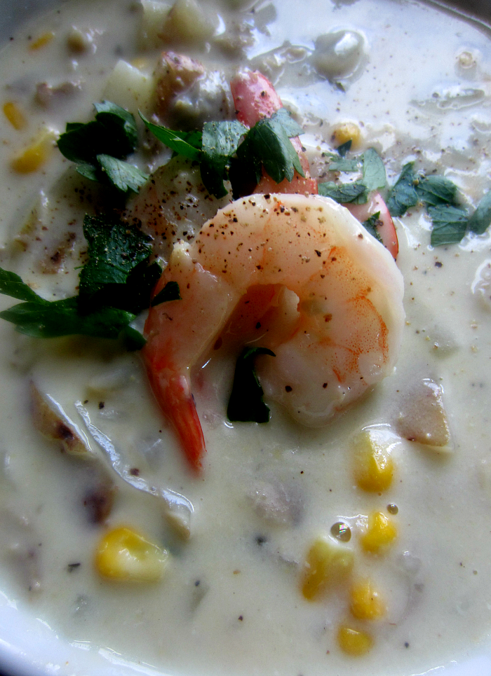 Healthy Skinny Clam  Shrimp Chowder
