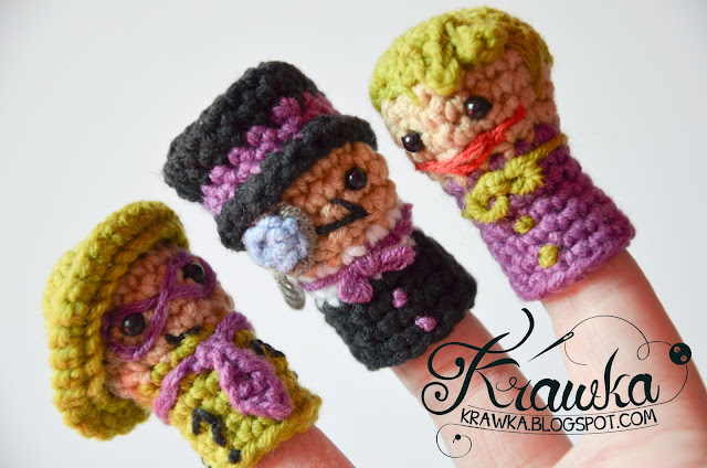 Krawka: Set of crochet finger puppets -  super Villains from Batman: Penguin, Riddler, Joker