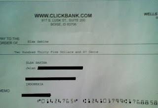 cek clickbank pertama :-)