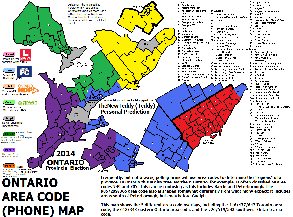 Canadian Area Codes Map on