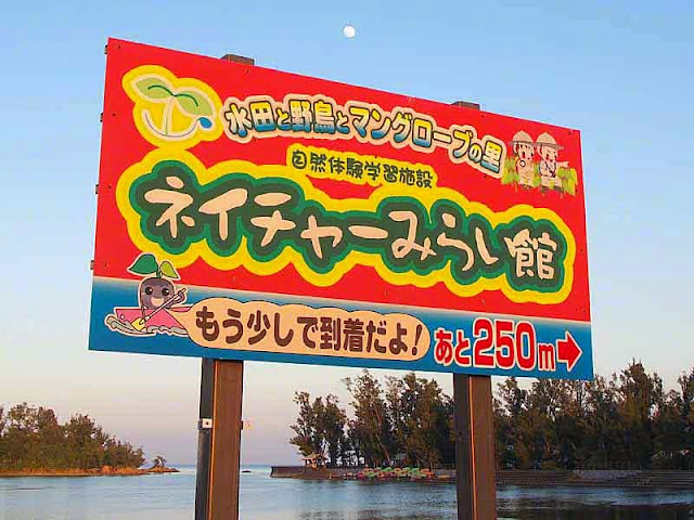 Nature Mirai sign, moon in sky
