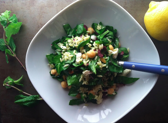 Orzo, Spinach and Feta Salad