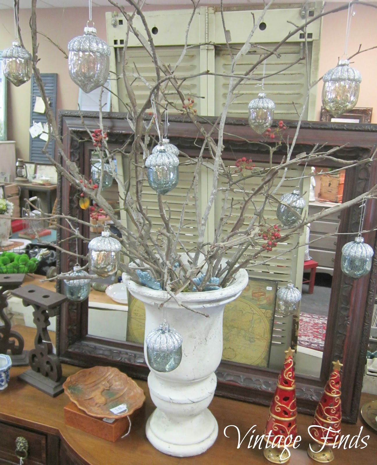 Drama christmas ornaments - Gather Up Branches From Your Yard Or The Woods To Fill An Urn Planter Or Tall Container Then Hang 10 Or More Christmas Ornaments On The Branches Until