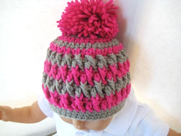 Pom Pom Beanie for Boy or Girl - Crochet Pattern - Newborn, Baby to