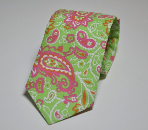 pink paisley tie. Lime and Pink Paisley Tie