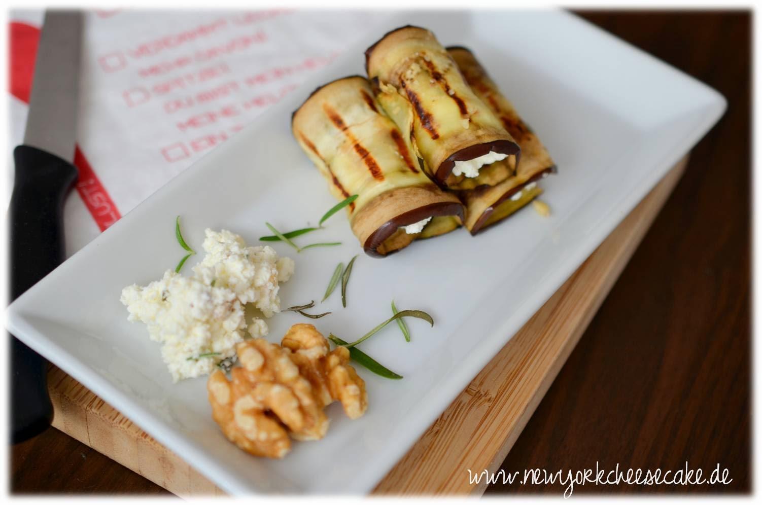 Aubergine, Fingerfood, Käse, Grillen