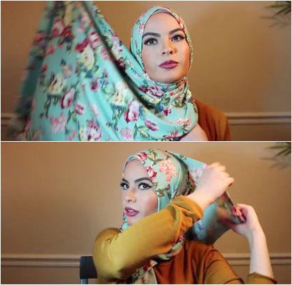 Langkah Kedua Tutorial Hijab Pashmina Omaya Zein