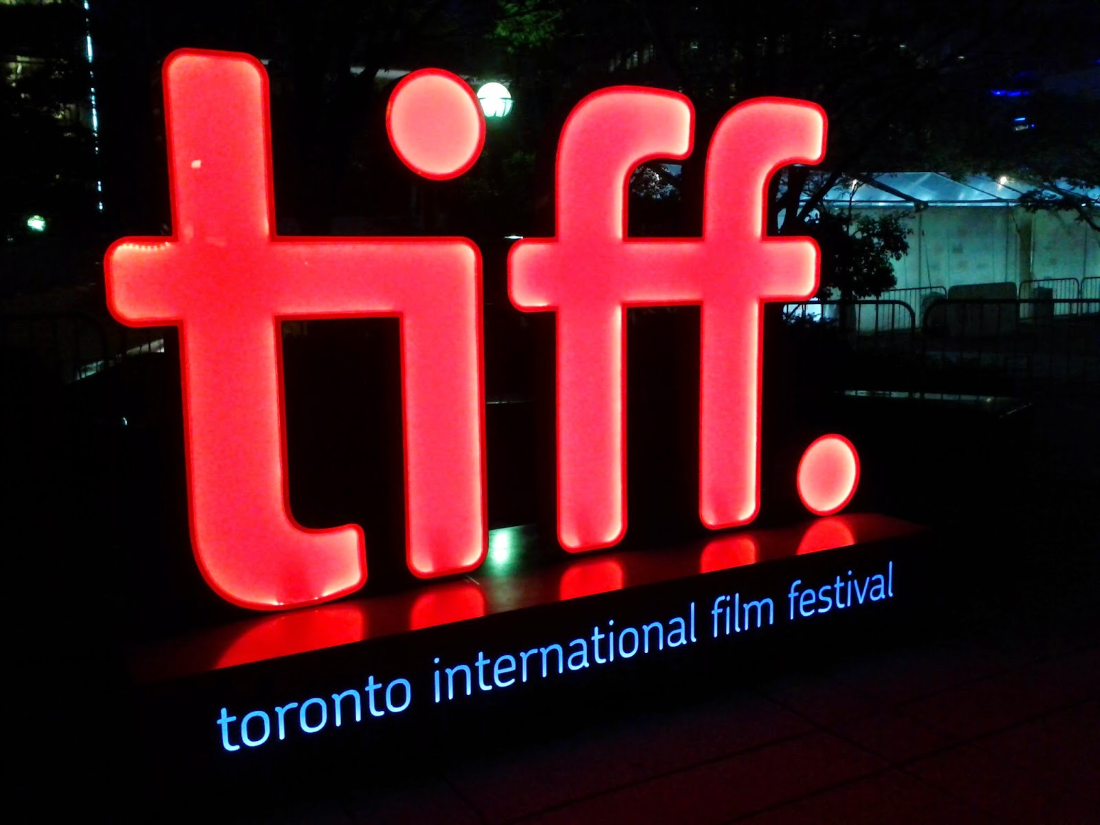 Tiff logo sign at night