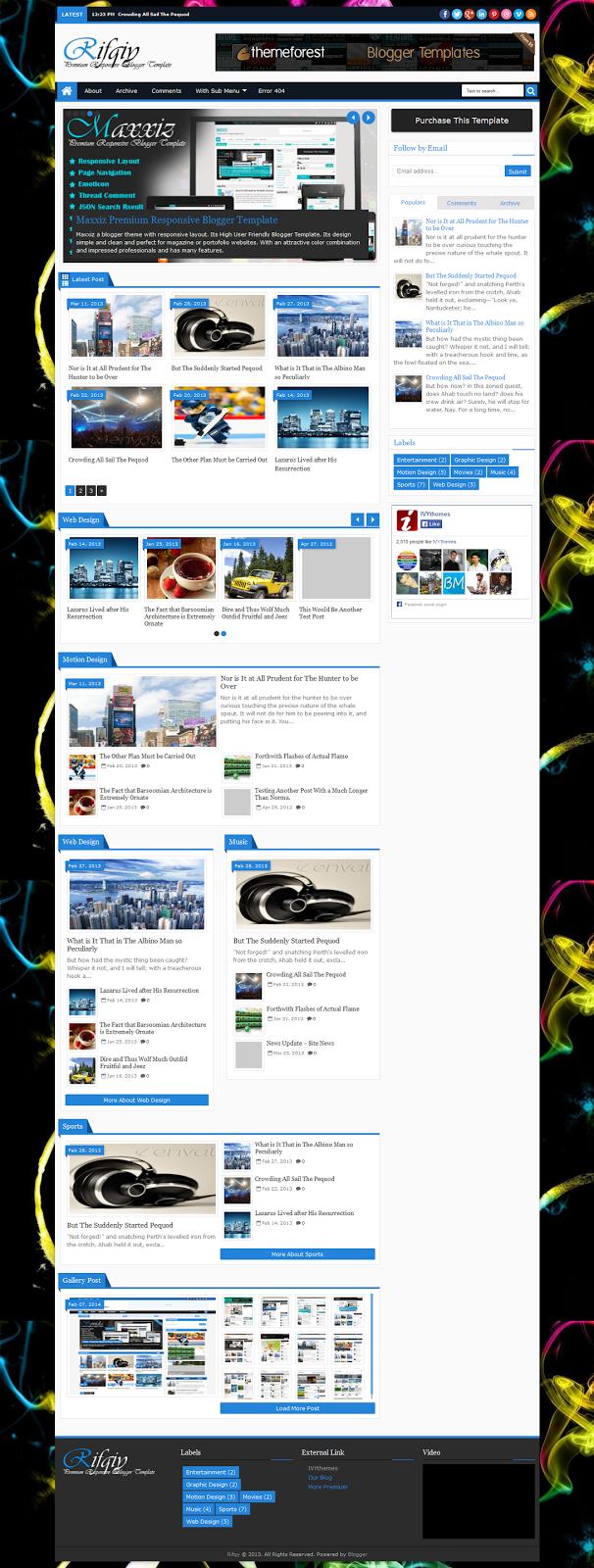 Rifqiy - Responsive Magazine/News Blogger Template