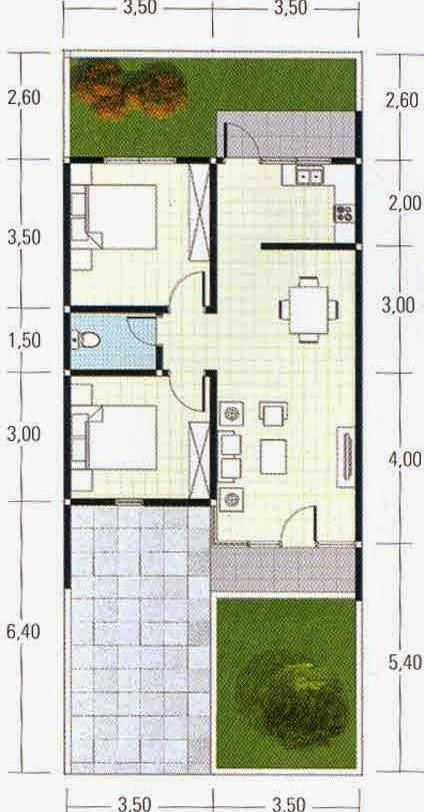 Contoh Gambaran Sketsa Denah Rumah Minimalis Type 36